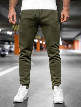 Spodnie męskie dresowe khaki Denley XW01