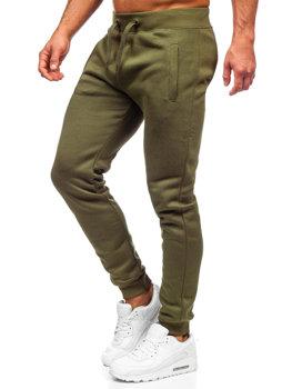 Spodnie męskie dresowe khaki Denley XW01-A