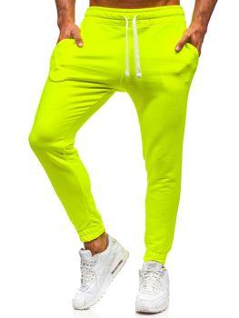 Spodnie męskie dresowe żółty-neon Denley 11121