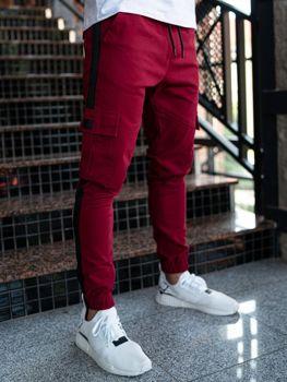 Spodnie męskie joggery bojówki bordowe Denley 11117