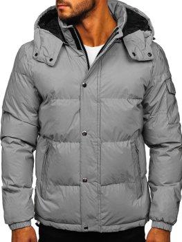Srebrna pikowana kurtka męska zimowa Denley 1167