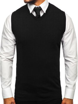 Sweter męski bez rękawów czarny Denley 2500