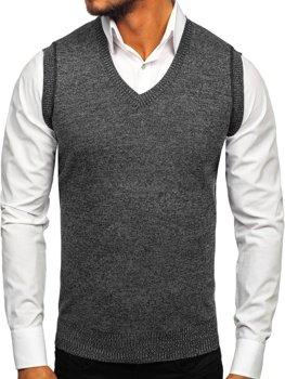 Sweter męski bez rękawów czarny Denley 8121