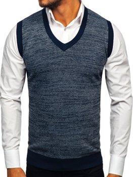 Sweter męski bez rękawów granatowy Denley 8131