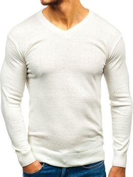 Sweter męski w serek ecru Bolf 6002