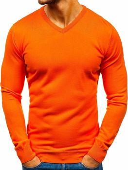 Sweter męski w serek pomarańczowy Denley 2200