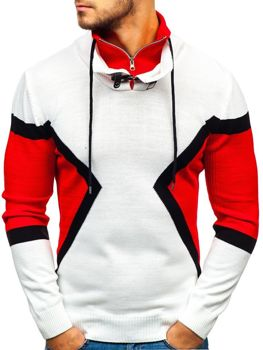 Sweter męski ze stójką biało-czerwony Denley 1011