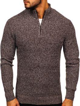 Sweter męski ze stójką brązowy Denley H1936