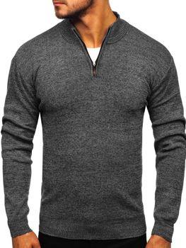 Sweter męski ze stójką czarny Denley 8260