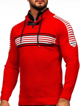 Sweter męski ze stójką czerwono-czarny Denley 1013