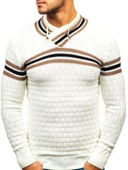 Sweter męski ze stójką ecru Denley 6006