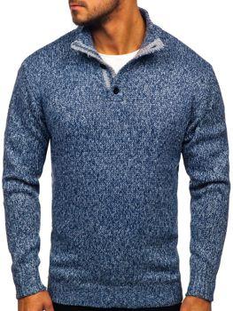 Sweter męski ze stójką niebieski Denley P086
