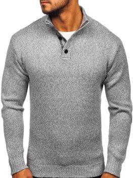 Sweter męski ze stójką szary Denley P086