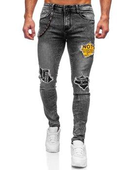 Szare jeansowe spodnie męskie slim fit Denley 61003S0