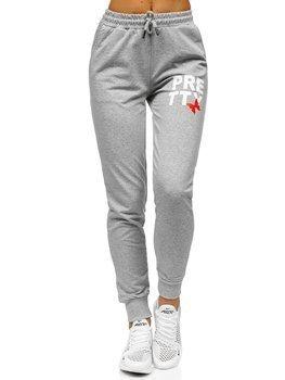Szare spodnie dresowe damskie Denley EK205121
