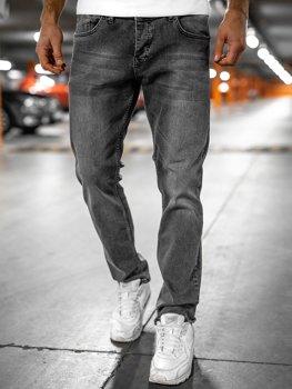 Szare spodnie jeansowe męskie regular fit Denley R904