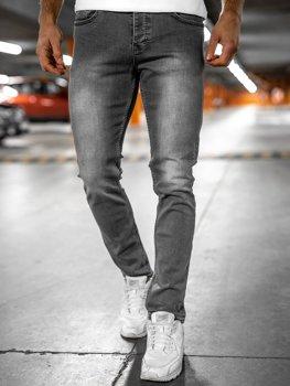 Szare spodnie jeansowe męskie regular fit Denley R906