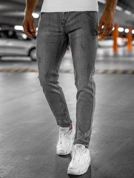 Szare spodnie jeansowe męskie skinny fit Denley KX129