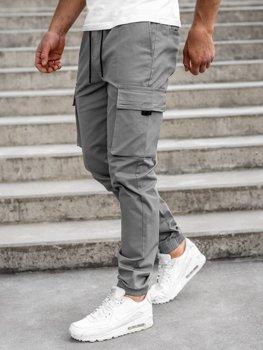 Szare spodnie joggery bojówki męskie Denley 701