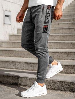 Szare spodnie męskie dresowe Denley JX8115