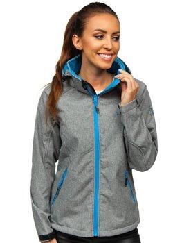Szaro-niebieska kurtka damska przejściowa softshell Denley A5801a