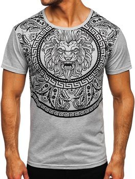 Szary T-shirt męski z nadrukiem Denley KS2389