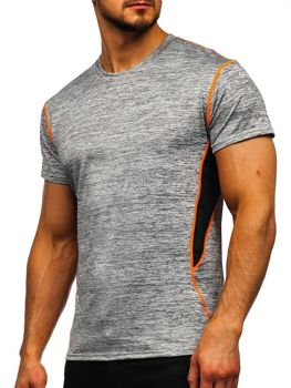 Szary T-shirt treningowy męski bez nadruku Denley KS2104