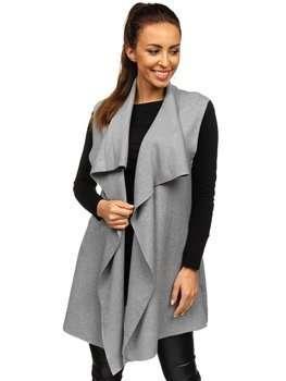 Szary kardigan sweter damski bez rękawów Denley AL0220l