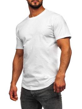T-shirt długi męski bez nadruku biały Bolf 14290
