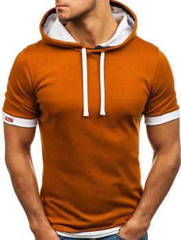 T-shirt męski bez nadruku camelowy Bolf 08