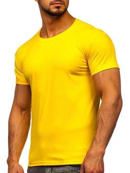 T-shirt męski bez nadruku żółty Denley 2005