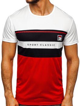 T-shirt męski treningowy z nadrukiem biały Denley SS10995