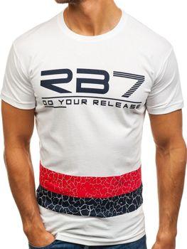 T-shirt męski z nadrukiem biały Denley 0008