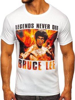 T-shirt męski z nadrukiem biały Denley 001