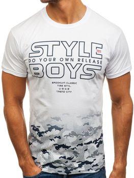 T-shirt męski z nadrukiem biały Denley 0010