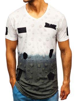 T-shirt męski z nadrukiem biały Denley 318