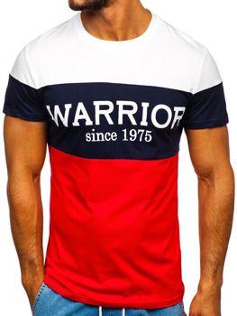 T-shirt męski z nadrukiem czerwony Denley 100693