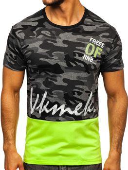 T-shirt męski z nadrukiem grafitowy Denley SS10978