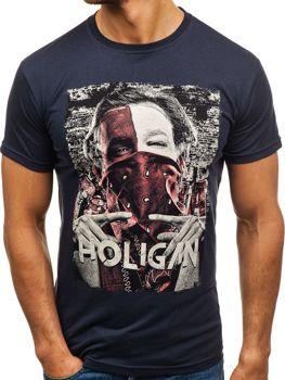 T-shirt męski z nadrukiem granatowy Denley 006