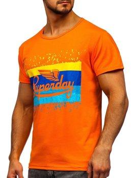 T-shirt męski z nadrukiem pomarańczowy Denley KS1966