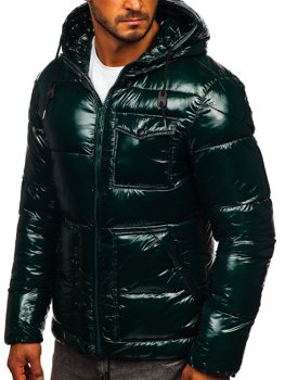 Zielona pikowana zimowa kurtka męska sportowa Denley 973