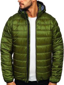 Zielona pikowana zimowa kurtka męska sportowa Denley BK111