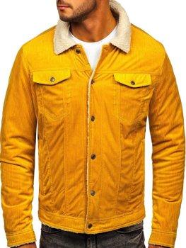 Żółta ocieplana kurtka sztruksowa męska Denley 1179