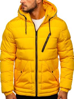 Żółta pikowana kurtka męska zimowa z kapturem Denley 1181
