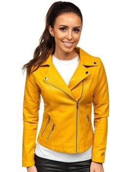 Żółta ramoneska kurtka skórzana damska Denley R18