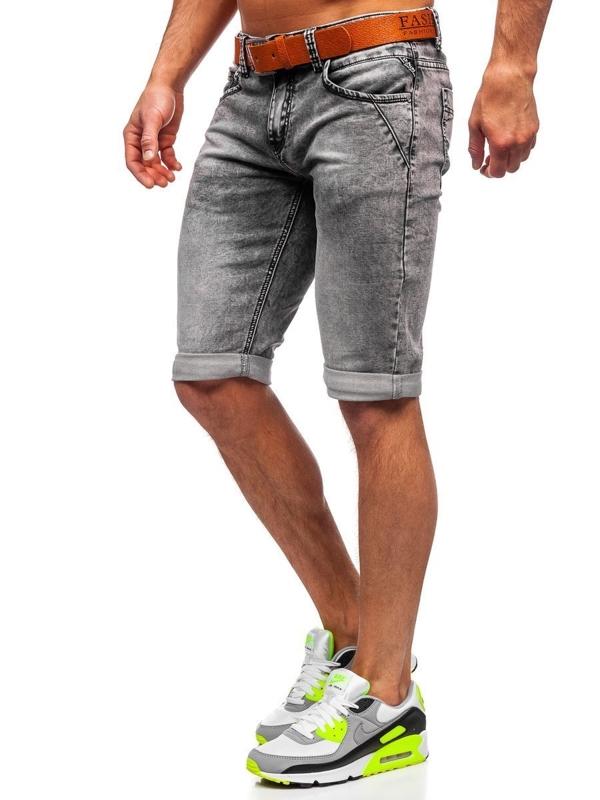 Czarne jeansowe krótkie spodenki męskie z paskiem Denley KR1211