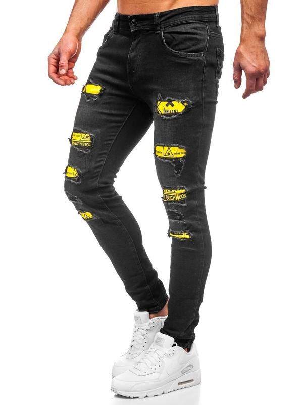 Czarne jeansowe spodnie męskie skinny fit Denley KA1869