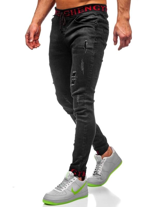 Czarne spodnie jeansowe joggery męskie Denley KA1131