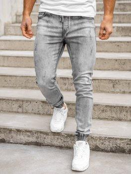 Czarne spodnie jeansowe joggery męskie Denley KA1828