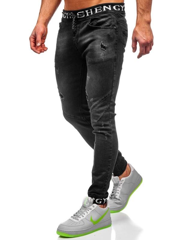 Czarne spodnie jeansowe joggery męskie Denley KA1857